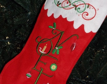 Noel Wool Felt Christmas Stocking