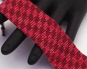 Beaded Bracelet, Harlequin, Pearl Red and Dark Red