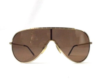 vintage 1980's NOS aviator sunglasses gold metal frames brown lenses sun glasses eyewear pilot cop oversized mens womens retro sports modern