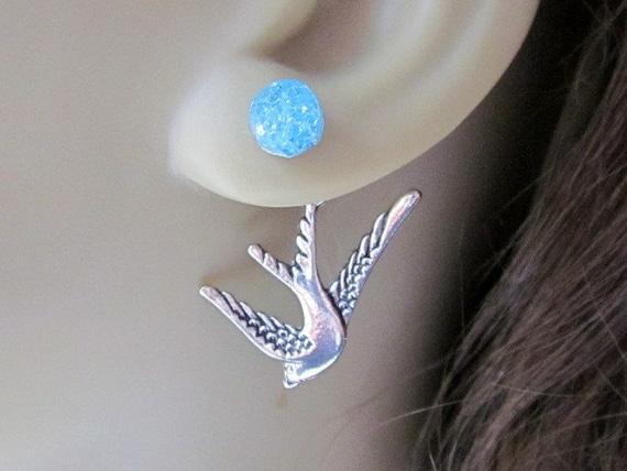 Sparrow Earrings Swallow Earrings Reverse Earrings Double Sided Bird Stud Earrings Back Front Earrings Blue Crystals Bird Ear Jackets