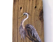 Great Blue Heron Egret Hand Painted on Reclaimed Fence Board Plaque