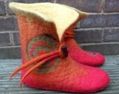Felted Slipper Boots - Red Orange and Yellow with Green Spirals - women's UK 7-7.5