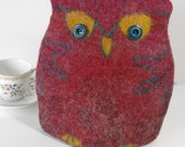 Felted Owl Teacosy - Deep Pink, Red and Burgundy with Petrol Green - Teapot Cosy