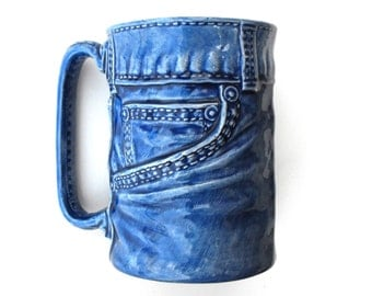 1976 Blue Jean Baby Queen Mug Sittre Vintage Ceramic Porcelain - Country Western Cup Retro Daisy Duke Beer Stein Bruce Springstein Stitching