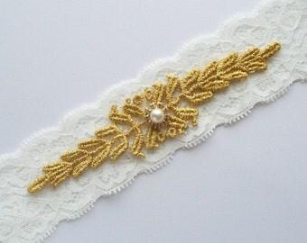 Gold Wedding Garter, Gold Lace Garter
