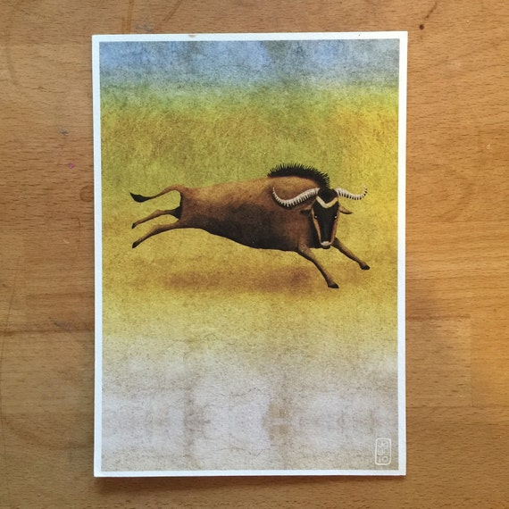 "SALE! A5  ""Leaping Wildebeest"" - Giclee Print"