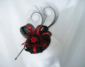 Black & Scarlet Red Pheasant Curl Feather Sinamay and Pearl Isabel Wedding Fascinator Mini Hat - Custom Made to Order