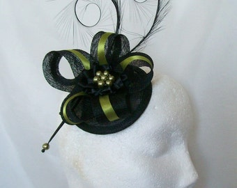 Black & Olive Green Pheasant Curl Feather Sinamay and Pearl Isabel Wedding Fascinator Mini Hat - Made to Order