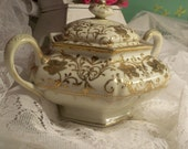 Shabby Chic Nippon Moriage Gilt Gold and White Two piece Porcelain Sugar Bowl