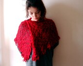 Red Capelet Bridal Lacy Shawl teardrop fringe Wrap Romantic Soft Scarf  for All Seasons