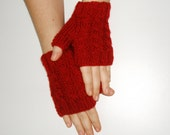 Hand Knitted Fingerless Gloves with thumb , Cable knit Hand Warmers, Knite fingerless glove gift for her