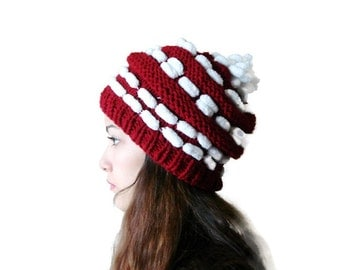 Burgundy Hand Knitted pompom hat, Dark Red and White knit hat, Christmas hat Beanine