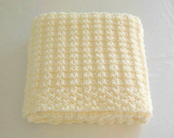 Cream Knitted Baby Blanket Hand Knit Baby Blanket Gender Neutral Baby Gift Newborn Infant Boy or Girl