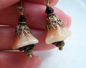 Taupe Glass Earrings - Brown Glass Earrings - Black Doodaba - Bellflower Earrings