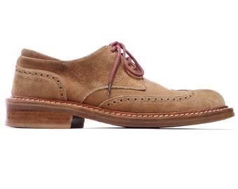 Vintage Men's Shoes . Camel Brown Suede BROGUE Derby Oxfords Pal Zileri 80s Vintage Wing Tip Luxury Shoes . Size US mens 7.5, Eur 40 , UK 7