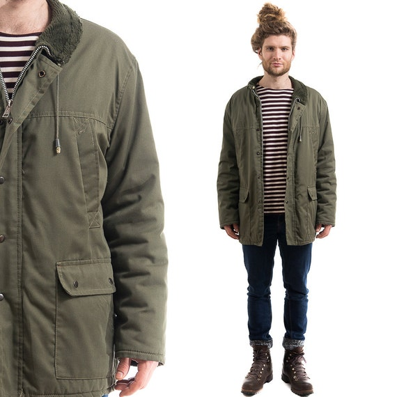 Khaki GREEN PARKA COAT . Mens Vintage Canvas by BetaMenswear