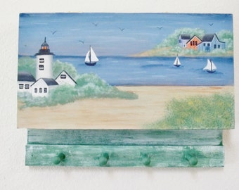 Nautical  Handpainted Key Box/ Hanging Storage / Wedding Gift