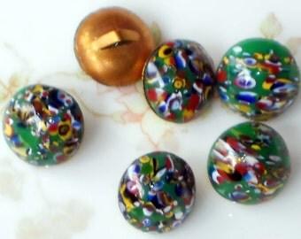 "Vintage Glass buttons Mosaic Green Brass Shank 11mm 7/8"" Round NOS. #1257A"