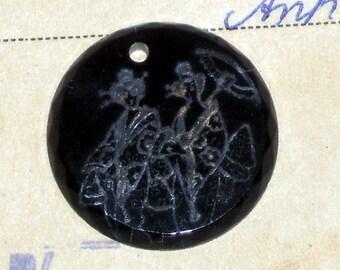 Antique Pendant Silver Inlay Etched Jet Geisha Oriental Onyx Anhanger NOS. 1481
