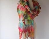 Nuno Felted scarf  Colorful felt scarf  Nuno felted stole  Rainbow shawl, Silk Wool shawl  felted shawl by Galafilc