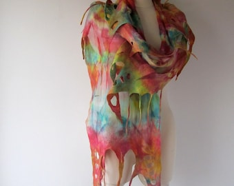 Nuno Felted scarf  Colorful felt scarf  Nuno felted stole  Rainbow shawl, Silk Wool shawl  felted shawl by Galafilc