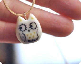 Lucky owl necklace cold porcelain clay