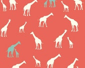 Organic Cotton Fabric-Birch- SERENGETI- Giraffe Fam coral- Great Shipping Rates