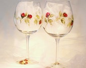 Hand Painted Large Wine Glasses  - Elegant Red Roses Set of 8 - Personalized Hand-Painted Red Wine Glass Stemware Wine Lover Gift Idea Ideas