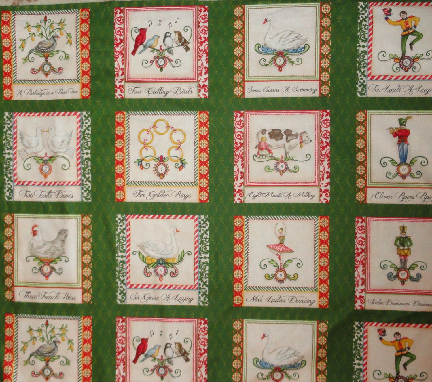 Christmas 12 days of christmas fabric panel cotton quilting for 12 days of christmas table cloth
