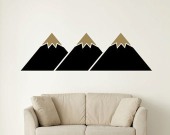 Mountain Wall Decal, Mountain Wall Art, Geometric Wall Decal, Triangle Wall Decal, Wanderlust Wall Decor, Mountain Range, Dorm Decor