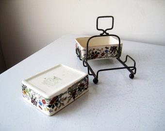 Open Salts Boxes Metal Caddy Lancanster & Sandland, Vintage Ceramic Trinket Dish Sandland Ware, SALE