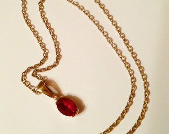Ruby Red Necklace, Clear Rhinestone, Gold Tone Chain, Vintage 1980's