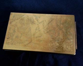 Vintage  1950s Embossed Brass Jungle Animals Large Makeup Kit Compact