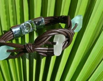 Primitive Sea Glass and Leather Bracelet