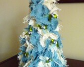 Burlap Blue Christmas Table Top Tree with Natural Blue Seed Beads, Green Ribbons and a Start topper