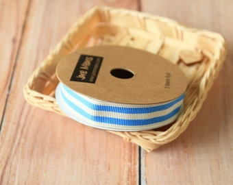 Pastel BLUE and WHITE Stripe Grossgrain ribbon reel 3m spool
