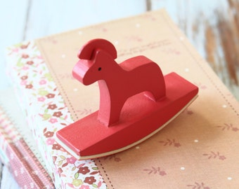 RED Rocking Horse fancy LACE border rubber stamp