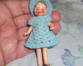 3 1/2 inch German Bisque Strung Doll with Crocheted Dress and Hat