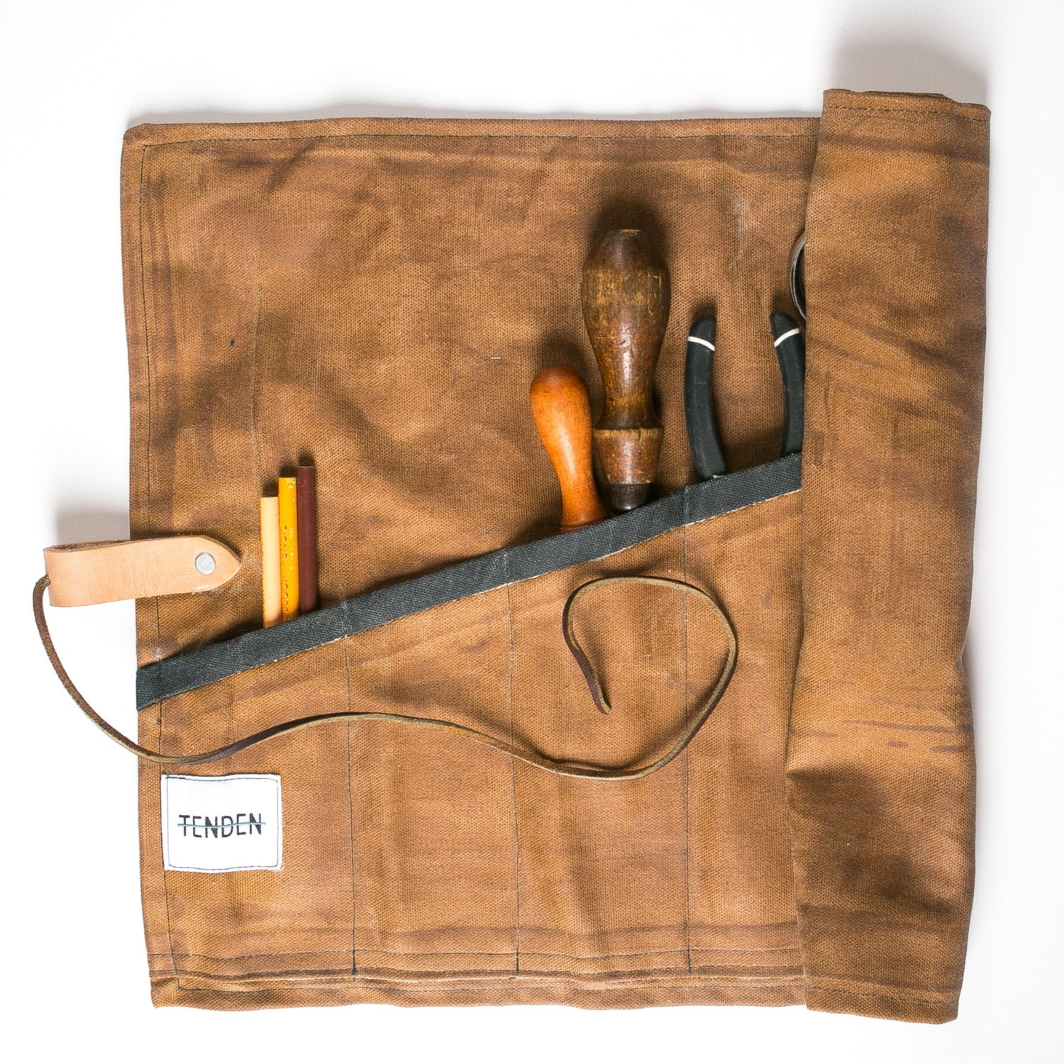 utility roll waxed canvas rust by tenden on etsy