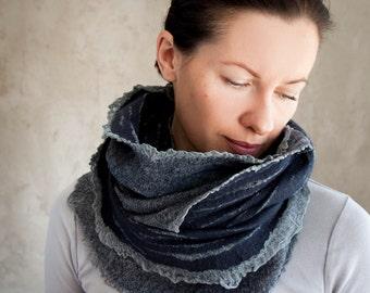 Midnight blue scarf soft felted cowl women neck warmer winter scarf merino wool blend hood grey cotton scarf infinity scarf birthday gift