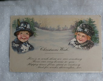 Vintage Christmas Post Card, Rosy Cheeked Children, Unused