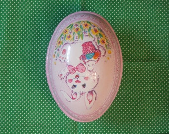 Easter Bunny Rabbit Dotted Pink Plastic Egg Shaped Container, Ullman Plastic