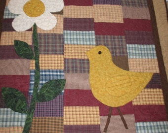 Appliqued Chick and Flower Homespun Country Primitive Quilt