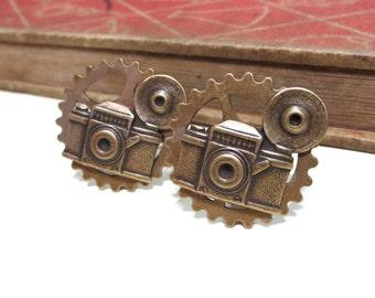 Antique Brass Camera Cufflinks - Gold Plated - Cuff Links - Antiqued Brass - Photographer - Soldered