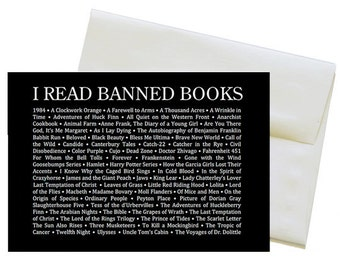 "I READ BANNED BOOKS Blank Greeting Card with Envelope for Librarians, Book-Lovers and Readers - 5"" x 7"" Taboo Book List on a Greeting Card"