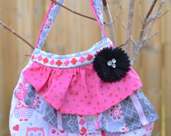Girls Purse - Pink Gray Owls