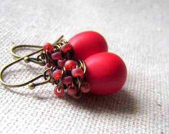Poppy Red Glass Earrings, Crimson Red Glass Earrings, Lipstick Red, Czech Glass, Wire Wrapped, Antiqued Brass, Christmas Earrings