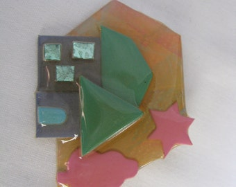 Vintage geometric House pin by Lucinda. House brooch by Lucinda