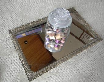 Vintage home decor trays Mirrored Dresser Top Tray Wedding decor Vanity mirror tray jewelry display Hollywood retro chic wedding gift