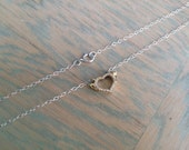 Silver and Gold Necklace, Winged Heart Necklace, Cubic Zirconia Heart, Mixed Metal Necklace, Micro Charm, Dainty Necklaces, Lightweight